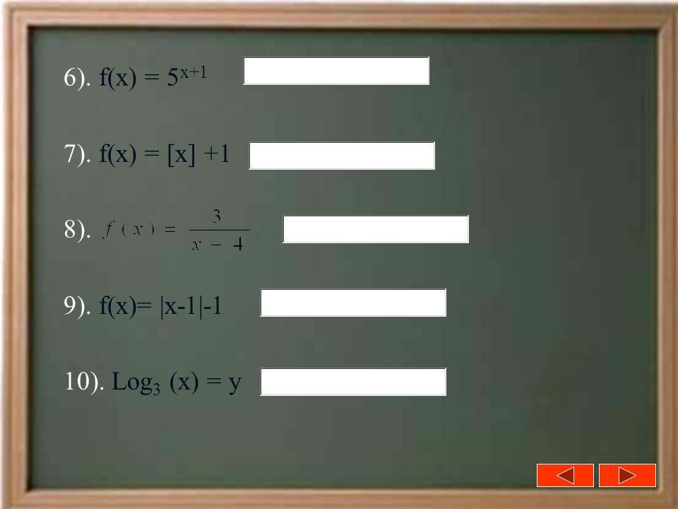6). f(x) = 5x+1 7). f(x) = [x] +1 8). 9). f(x)= |x-1|-1 10). Log3 (x) = y